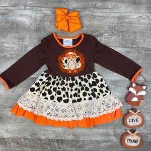 Girls boutique Thanksgiving turkey leopard dress